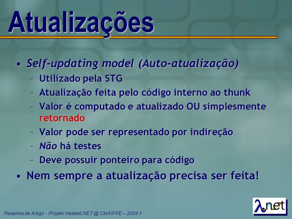 Resenha de Artigo - Projeto Haskell.NET @ CIn/UFPE – 2004.1 Atualizações Self-updating model (Auto-atualização)Self-updating model (Auto-atualização)