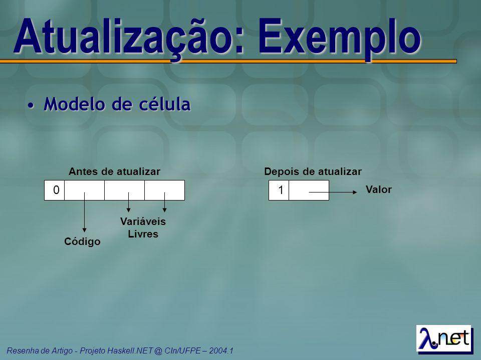 Resenha de Artigo - Projeto Haskell.NET @ CIn/UFPE – 2004.1 Atualização: Exemplo Modelo de célulaModelo de célula 0 Código Variáveis Livres Antes de a