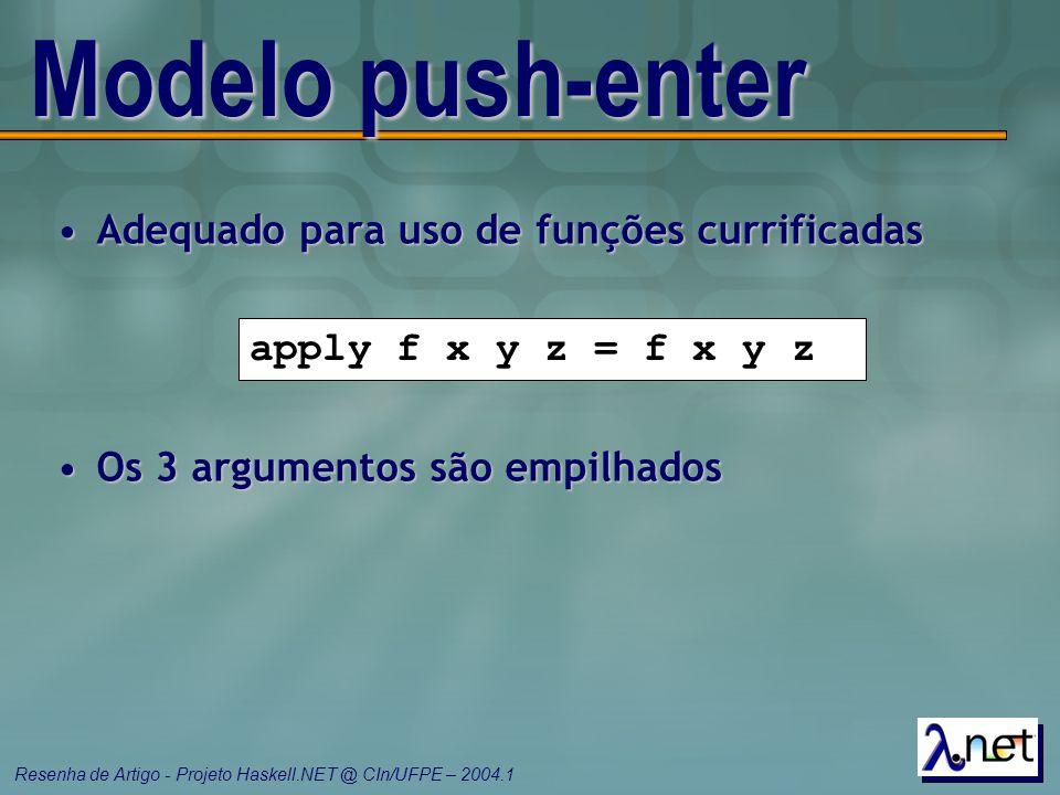 Resenha de Artigo - Projeto Haskell.NET @ CIn/UFPE – 2004.1 Modelo push-enter Adequado para uso de funções currificadasAdequado para uso de funções cu