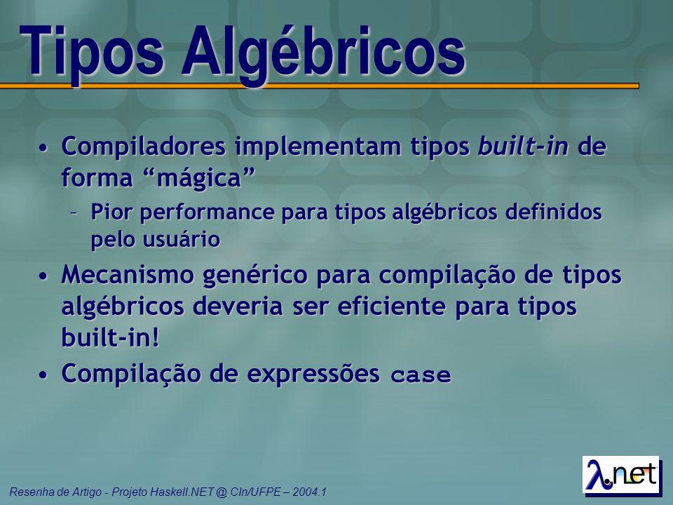 """Resenha de Artigo - Projeto Haskell.NET @ CIn/UFPE – 2004.1 Tipos Algébricos Compiladores implementam tipos built-in de forma """"mágica""""Compiladores imp"""