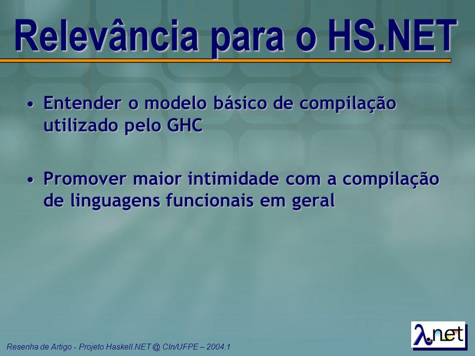 Resenha de Artigo - Projeto Haskell.NET @ CIn/UFPE – 2004.1 Relevância para o HS.NET Entender o modelo básico de compilação utilizado pelo GHCEntender