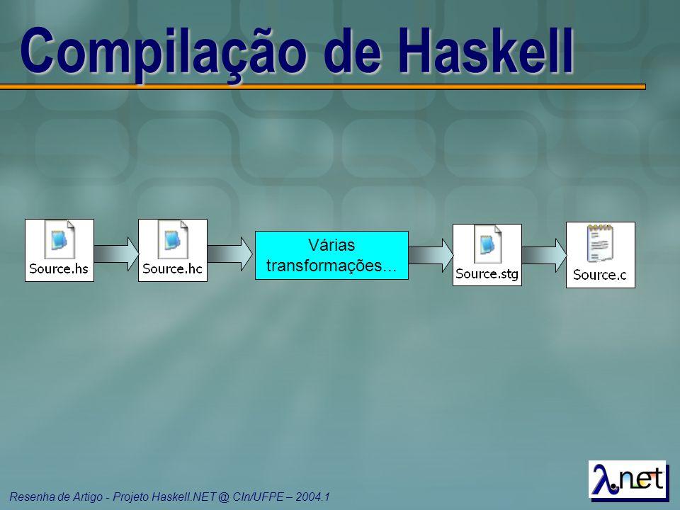 Resenha de Artigo - Projeto Haskell.NET @ CIn/UFPE – 2004.1 Compilação de Haskell Várias transformações...