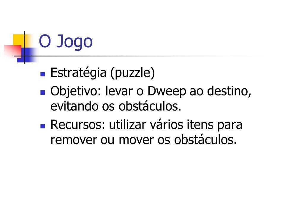 O Jogo Estratégia (puzzle) Objetivo: levar o Dweep ao destino, evitando os obstáculos. Recursos: utilizar vários itens para remover ou mover os obstác