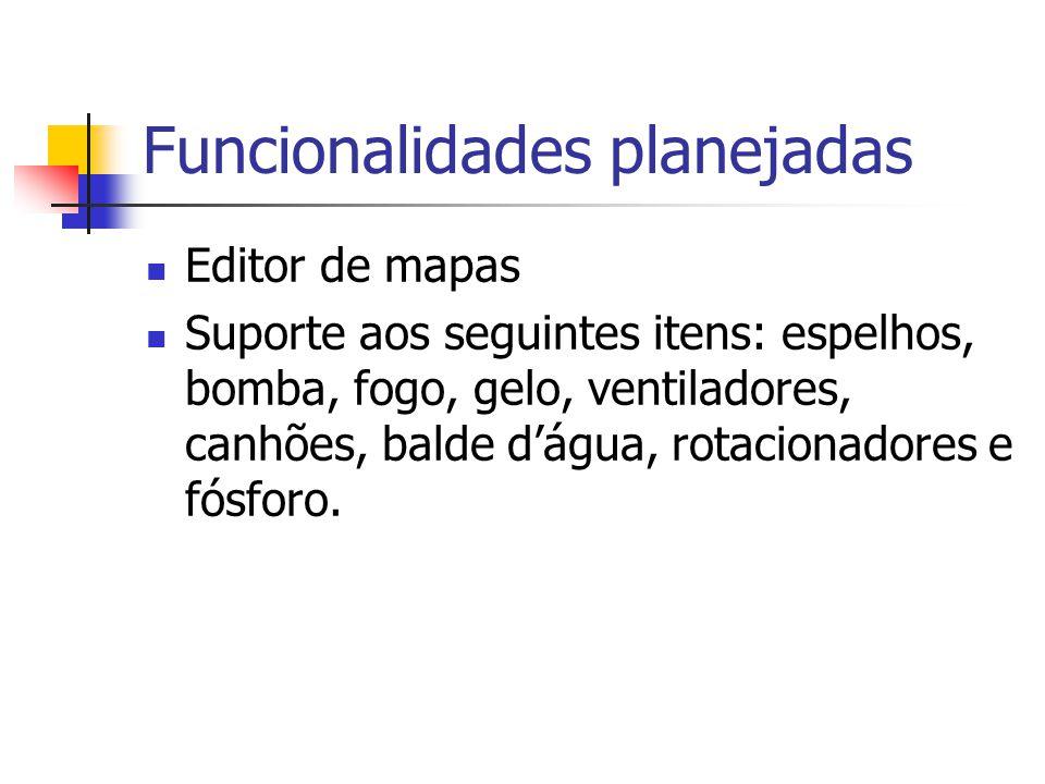 Funcionalidades planejadas Editor de mapas Suporte aos seguintes itens: espelhos, bomba, fogo, gelo, ventiladores, canhões, balde d'água, rotacionador
