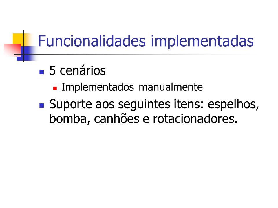 Funcionalidades implementadas 5 cenários Implementados manualmente Suporte aos seguintes itens: espelhos, bomba, canhões e rotacionadores.