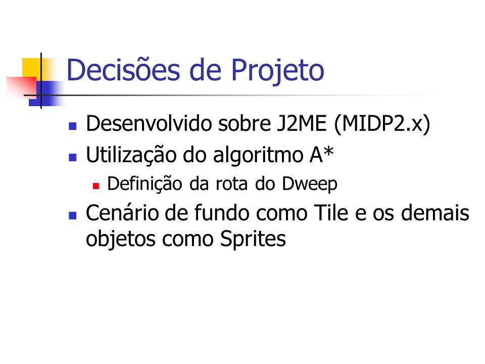 Decisões de Projeto Desenvolvido sobre J2ME (MIDP2.x) Utilização do algoritmo A* Definição da rota do Dweep Cenário de fundo como Tile e os demais obj