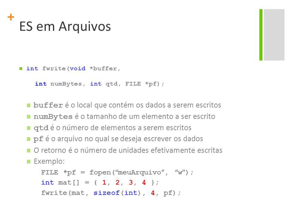 + ES em Arquivos int fwrite(void *buffer, int numBytes, int qtd, FILE *pf); buffer é o local que contém os dados a serem escritos numBytes é o tamanho