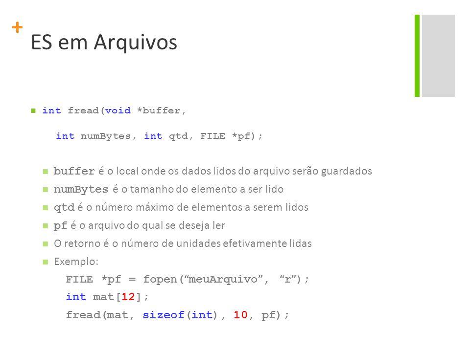 + ES em Arquivos int fread(void *buffer, int numBytes, int qtd, FILE *pf); buffer é o local onde os dados lidos do arquivo serão guardados numBytes é