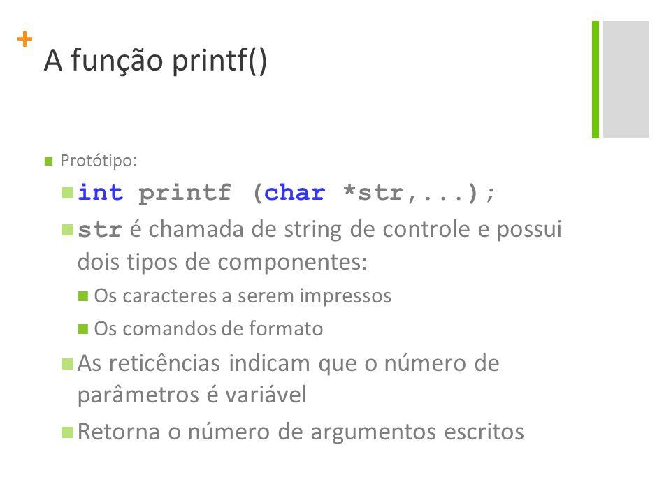 + A função printf() Protótipo: int printf (char *str,...); str é chamada de string de controle e possui dois tipos de componentes: Os caracteres a ser