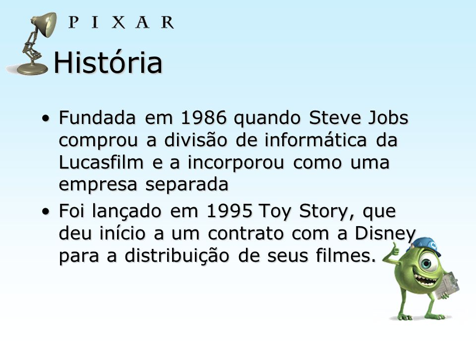 História Fundada em 1986 quando Steve Jobs comprou a divisão de informática da Lucasfilm e a incorporou como uma empresa separadaFundada em 1986 quand