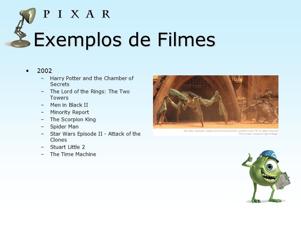 Exemplos de Filmes 20022002 –Harry Potter and the Chamber of Secrets –The Lord of the Rings: The Two Towers –Men in Black II –Minority Report –The Scorpion King –Spider Man –Star Wars Episode II - Attack of the Clones –Stuart Little 2 –The Time Machine