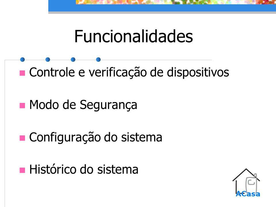 Funcionalidades Controle e verificação de dispositivos Modo de Segurança Configuração do sistema Histórico do sistema