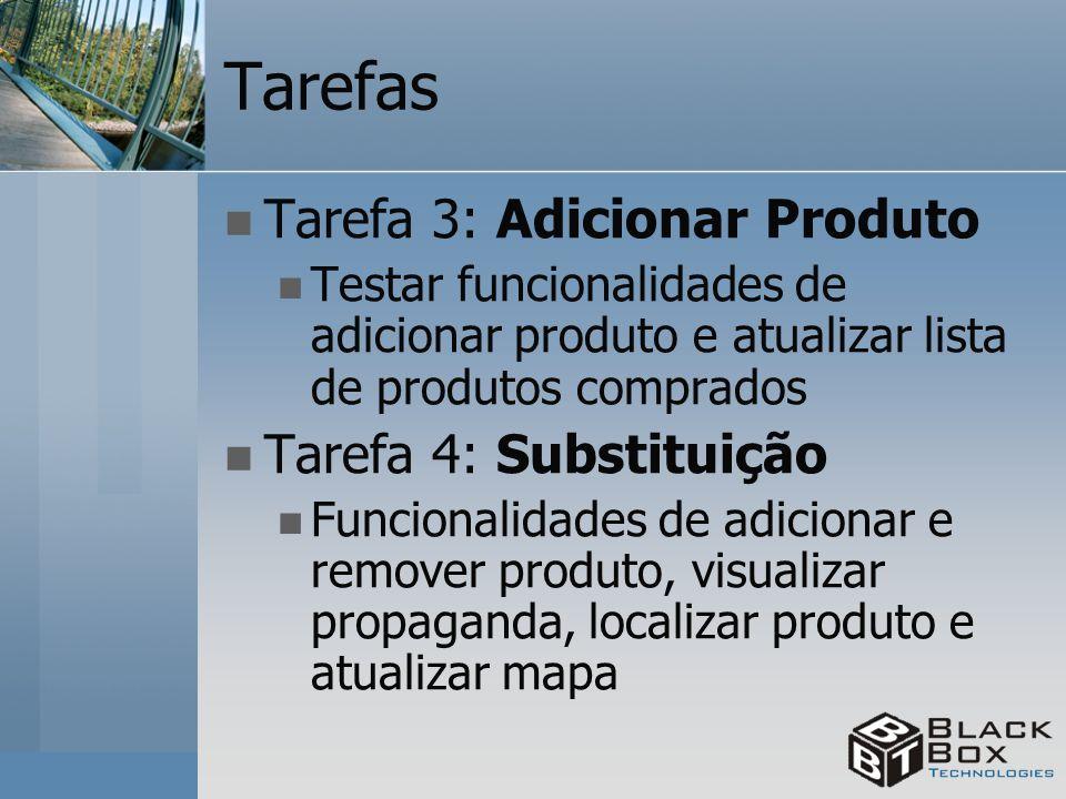 Tarefas Tarefa 3: Adicionar Produto Testar funcionalidades de adicionar produto e atualizar lista de produtos comprados Tarefa 4: Substituição Funcion