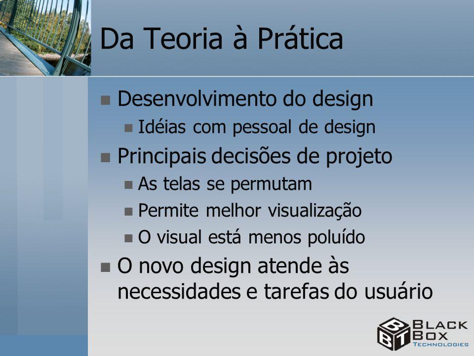 Da Teoria à Prática Desenvolvimento do design Idéias com pessoal de design Principais decisões de projeto As telas se permutam Permite melhor visualiz