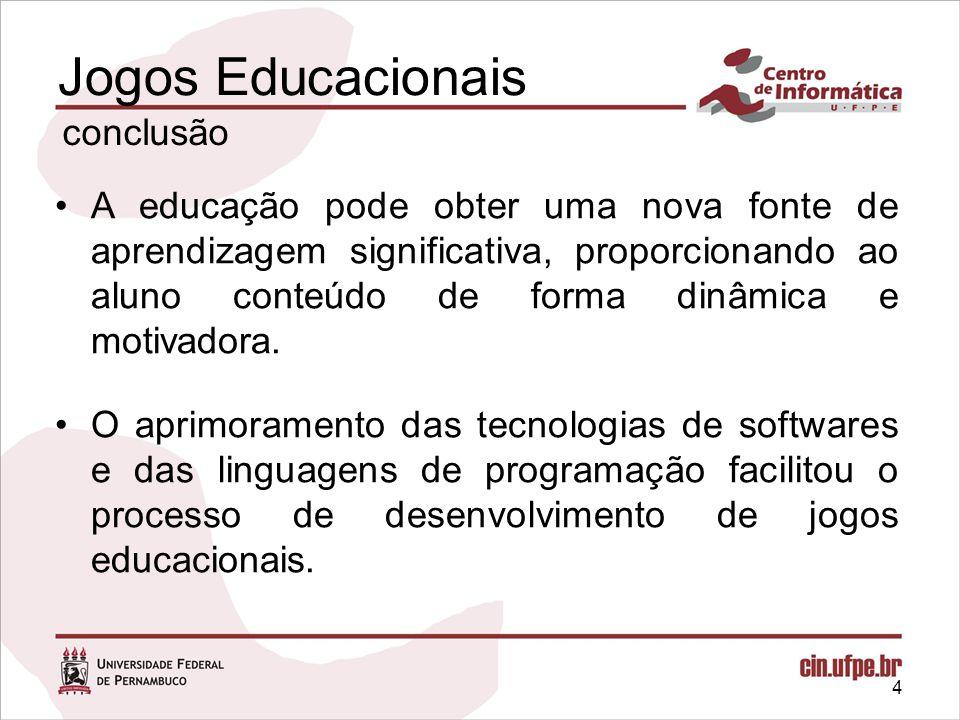 4 Jogos Educacionais conclusão A educação pode obter uma nova fonte de aprendizagem significativa, proporcionando ao aluno conteúdo de forma dinâmica