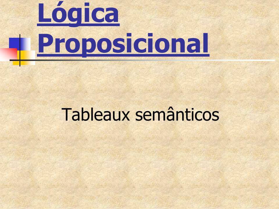 Sistema de Tableaux Semânticos Alfabeto da Lógica Proposicional Conjunto de fórmulas da Lógica Proposicional Conjunto de regras de dedução (ou regras de inferência)
