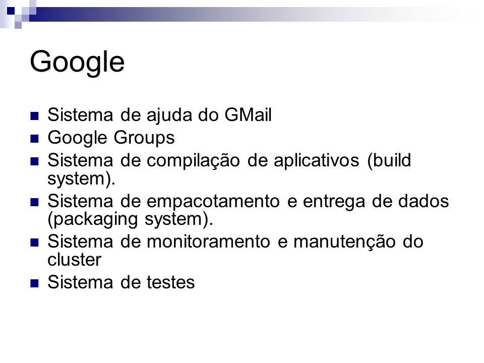Google Sistema de ajuda do GMail Google Groups Sistema de compilação de aplicativos (build system). Sistema de empacotamento e entrega de dados (packa
