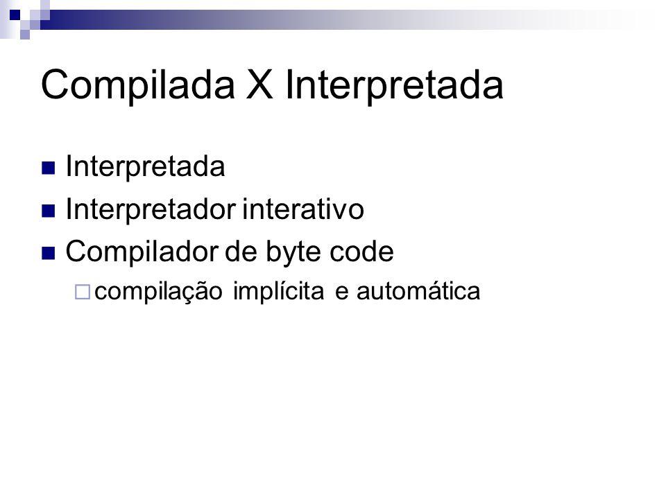 Compilada X Interpretada Interpretada Interpretador interativo Compilador de byte code  compilação implícita e automática