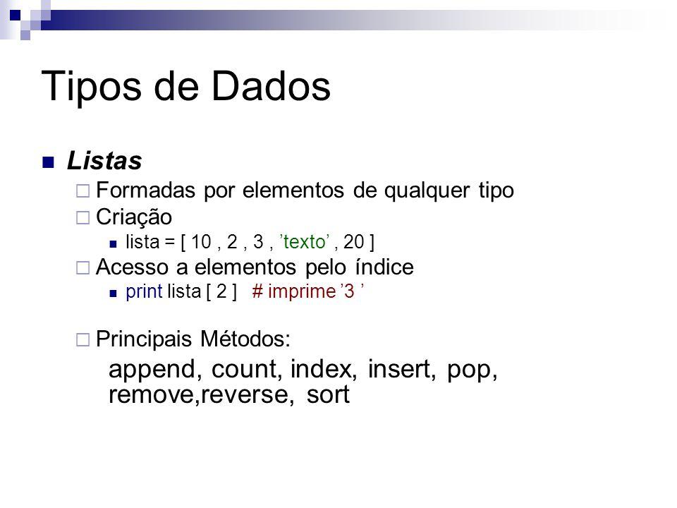 Tipos de Dados Listas  Formadas por elementos de qualquer tipo  Criação lista = [ 10, 2, 3, 'texto', 20 ]  Acesso a elementos pelo índice print lis