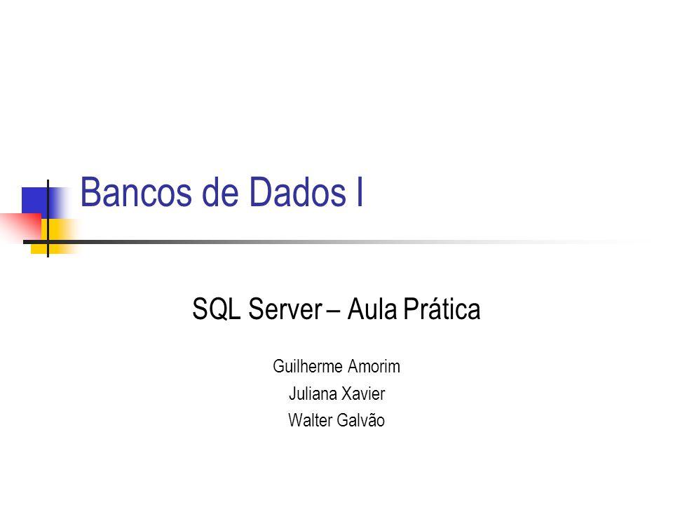 SQL Server - Aula Prática42 Exemplo de OUTER JOIN Use Northwind SELECT cs.companyname, cs.customerid, os.orderdate FROM dbo.customers cs LEFT JOIN dbo.orders os ON os.customerid = cs.customerid Where os.orderdate between 01/01/1997 and 03/1/1997 or orderdate is null Order by os.orderdate Mostra todos os clientes com respectivas datas de pedido.