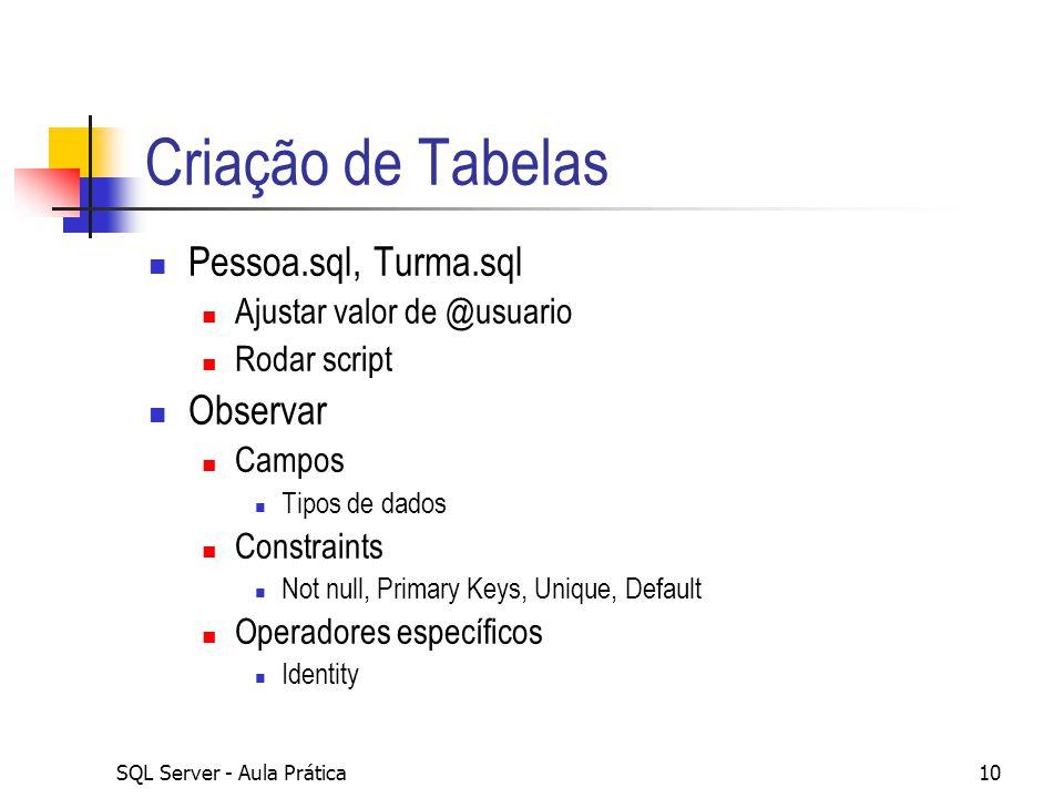 SQL Server - Aula Prática10 Criação de Tabelas Pessoa.sql, Turma.sql Ajustar valor de @usuario Rodar script Observar Campos Tipos de dados Constraints