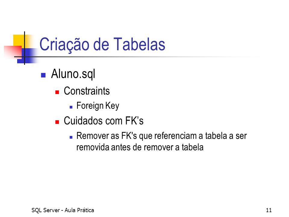 SQL Server - Aula Prática11 Criação de Tabelas Aluno.sql Constraints Foreign Key Cuidados com FK's Remover as FK's que referenciam a tabela a ser remo