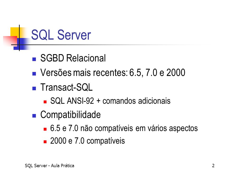 SQL Server - Aula Prática43 CROSS JOIN Basta não especificar o critério de associação Produto cartesiano de registros SELECT te.TerritoryDescription, re.RegionDescription FROM territories te CROSS JOIN region re SELECT te.TerritoryDescription, re.RegionDescription FROM territories te,region re