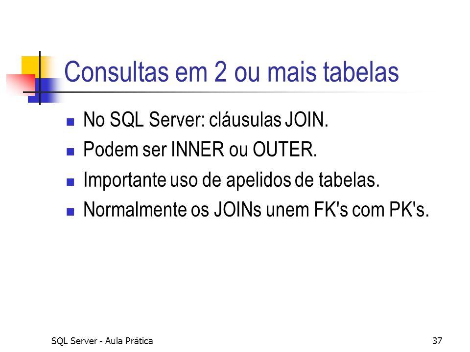 SQL Server - Aula Prática37 Consultas em 2 ou mais tabelas No SQL Server: cláusulas JOIN. Podem ser INNER ou OUTER. Importante uso de apelidos de tabe