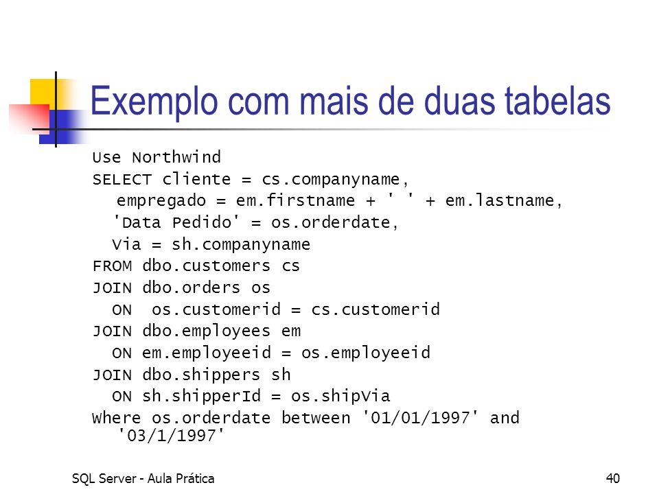 SQL Server - Aula Prática40 Exemplo com mais de duas tabelas Use Northwind SELECT cliente = cs.companyname, empregado = em.firstname + ' ' + em.lastna