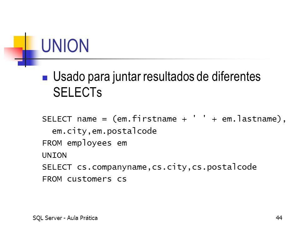 SQL Server - Aula Prática44 UNION Usado para juntar resultados de diferentes SELECTs SELECT name = (em.firstname + ' ' + em.lastname), em.city,em.post