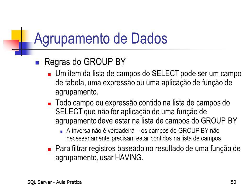 SQL Server - Aula Prática50 Agrupamento de Dados Regras do GROUP BY Um item da lista de campos do SELECT pode ser um campo de tabela, uma expressão ou