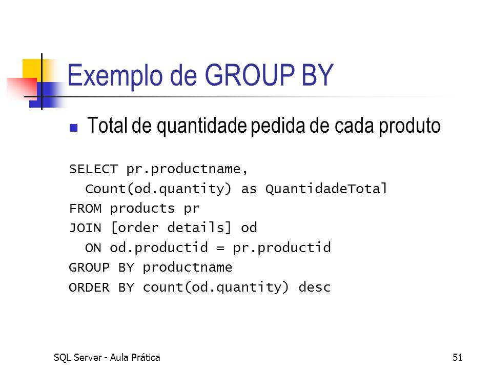 SQL Server - Aula Prática51 Exemplo de GROUP BY Total de quantidade pedida de cada produto SELECT pr.productname, Count(od.quantity) as QuantidadeTota