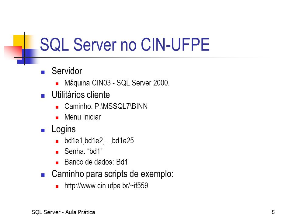 SQL Server - Aula Prática39 Exemplo com duas tabelas Use Northwind SELECT cs.companyname, cs.customerid, os.orderdate FROM dbo.customers cs JOIN dbo.orders os ON os.customerid = cs.customerid Where os.orderdate between 01/01/1997 and 03/1/1997