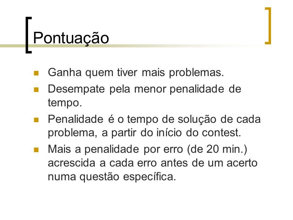 Pontuação Ganha quem tiver mais problemas.Desempate pela menor penalidade de tempo.
