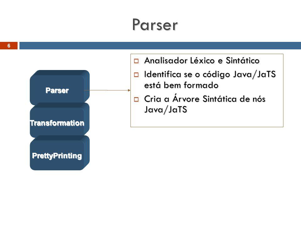 Parser  Analisador Léxico e Sintático  Identifica se o código Java/JaTS está bem formado  Cria a Árvore Sintática de nós Java/JaTS Parser Transformation PrettyPrinting 6