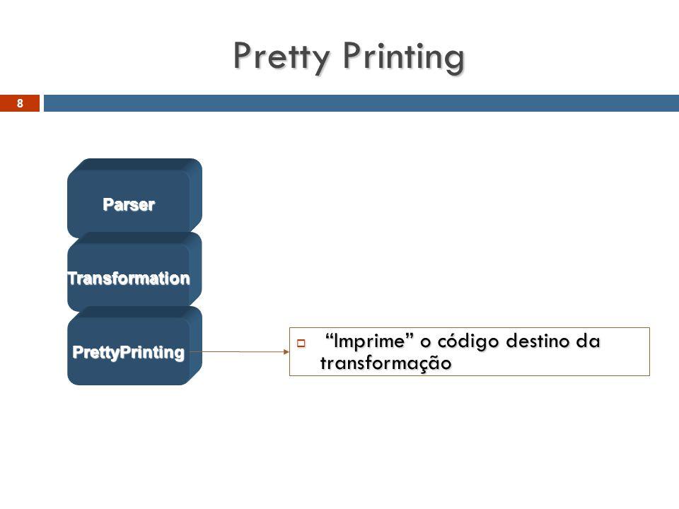 """Pretty Printing  """"Imprime"""" o código destino da transformação Parser Transformation PrettyPrinting 8"""