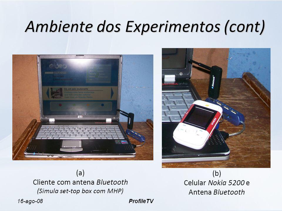 16-ago-08ProfileTV Ambiente dos Experimentos (cont) (a) Cliente com antena Bluetooth (Simula set-top box com MHP) (b) Celular Nokia 5200 e Antena Bluetooth