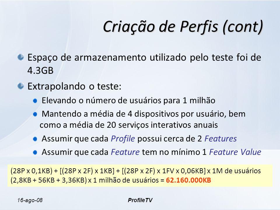 16-ago-08ProfileTV Criação de Perfis (cont) Espaço de armazenamento utilizado pelo teste foi de 4.3GB Extrapolando o teste: Elevando o número de usuários para 1 milhão Mantendo a média de 4 dispositivos por usuário, bem como a média de 20 serviços interativos anuais Assumir que cada Profile possui cerca de 2 Features Assumir que cada Feature tem no mínimo 1 Feature Value (28P x 0,1KB) + [(28P x 2F) x 1KB] + [(28P x 2F) x 1FV x 0,06KB] x 1M de usuários (2,8KB + 56KB + 3,36KB) x 1 milhão de usuários = 62.160.000KB