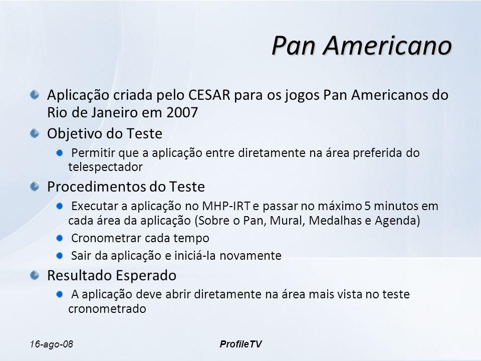 16-ago-08ProfileTV Pan Americano Aplicação criada pelo CESAR para os jogos Pan Americanos do Rio de Janeiro em 2007 Objetivo do Teste Permitir que a a