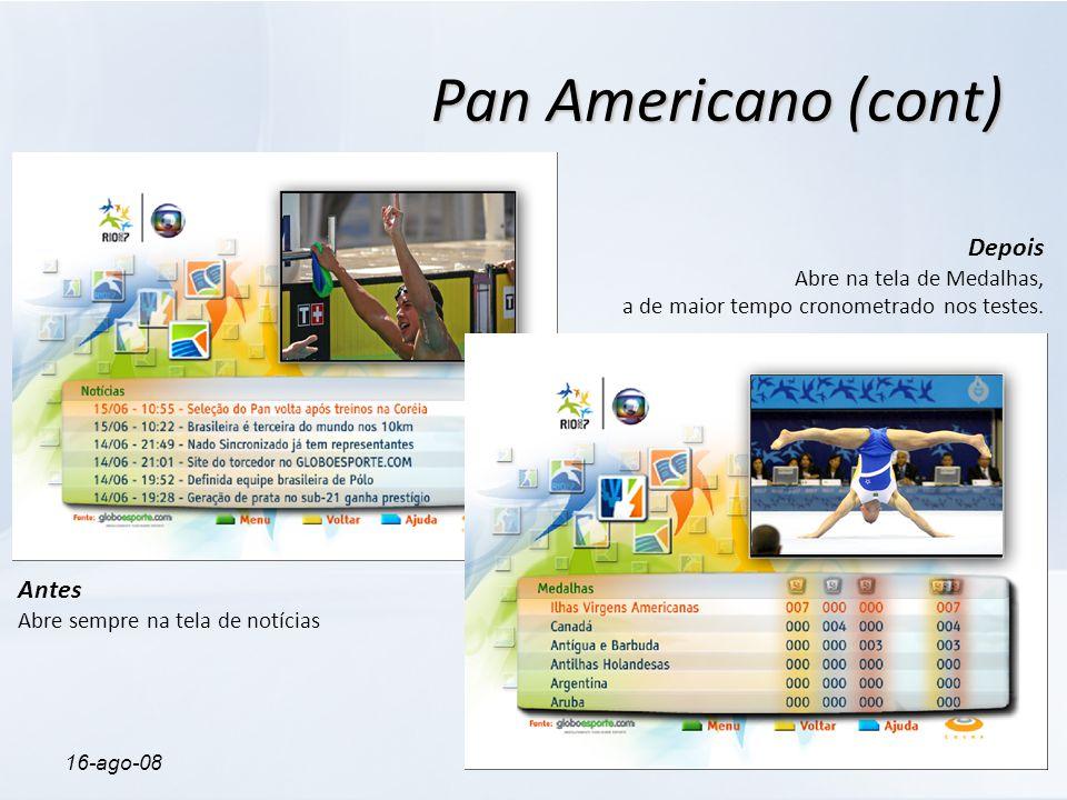 16-ago-08ProfileTV Pan Americano (cont) Antes Abre sempre na tela de notícias Depois Abre na tela de Medalhas, a de maior tempo cronometrado nos teste