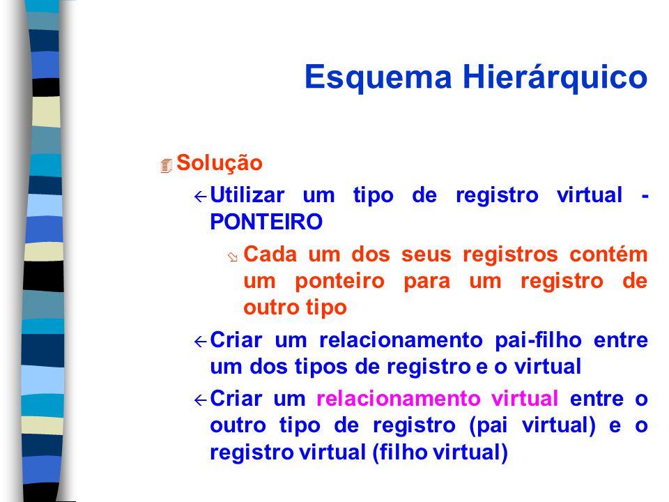 Esquema Hierárquico 4 Solução ß Utilizar um tipo de registro virtual - PONTEIRO ø Cada um dos seus registros contém um ponteiro para um registro de outro tipo ß Criar um relacionamento pai-filho entre um dos tipos de registro e o virtual ß Criar um relacionamento virtual entre o outro tipo de registro (pai virtual) e o registro virtual (filho virtual)