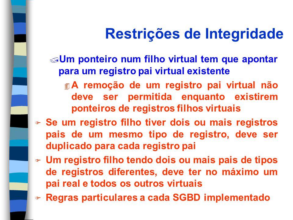 Restrições de Integridade / Um ponteiro num filho virtual tem que apontar para um registro pai virtual existente 4 A remoção de um registro pai virtua