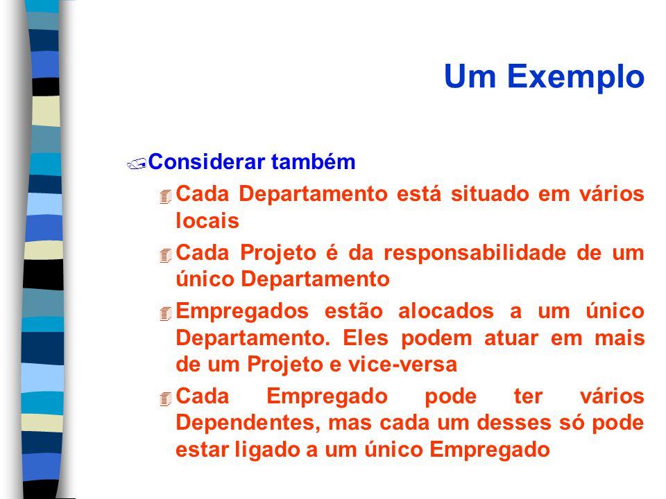 Um Exemplo / Considerar também 4 Cada Departamento está situado em vários locais 4 Cada Projeto é da responsabilidade de um único Departamento 4 Empregados estão alocados a um único Departamento.