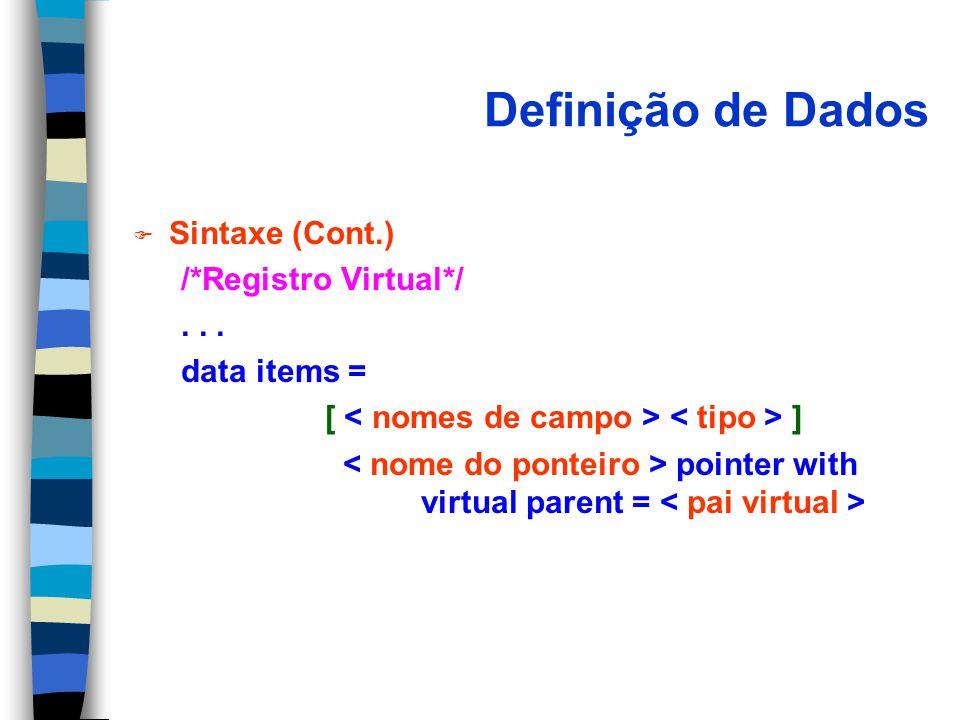 Definição de Dados F Sintaxe (Cont.) /*Registro Virtual*/... data items = [ ] pointer with virtual parent =