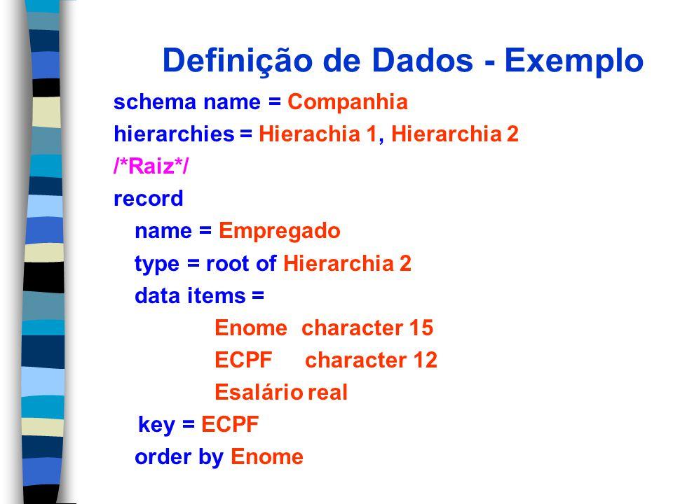 Definição de Dados - Exemplo schema name = Companhia hierarchies = Hierachia 1, Hierarchia 2 /*Raiz*/ record name = Empregado type = root of Hierarchi