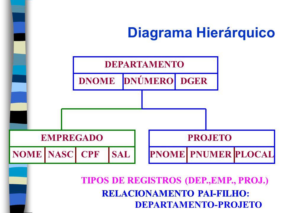 Diagrama Hierárquico DEPARTAMENTO DNOMEDNÚMERODGER EMPREGADO NOMENASCCPFSAL PROJETO PNOMEPNUMERPLOCAL TIPOS DE REGISTROS (DEP.,EMP., PROJ.) RELACIONAMENTO PAI-FILHORELACIONAMENTO PAI-FILHO: DEPARTAMENTO-PROJETO