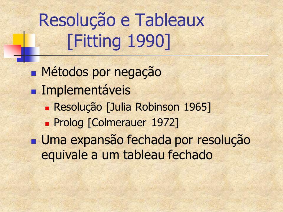 Resolução e Tableaux [Fitting 1990] Métodos por negação Implementáveis Resolução [Julia Robinson 1965] Prolog [Colmerauer 1972] Uma expansão fechada por resolução equivale a um tableau fechado