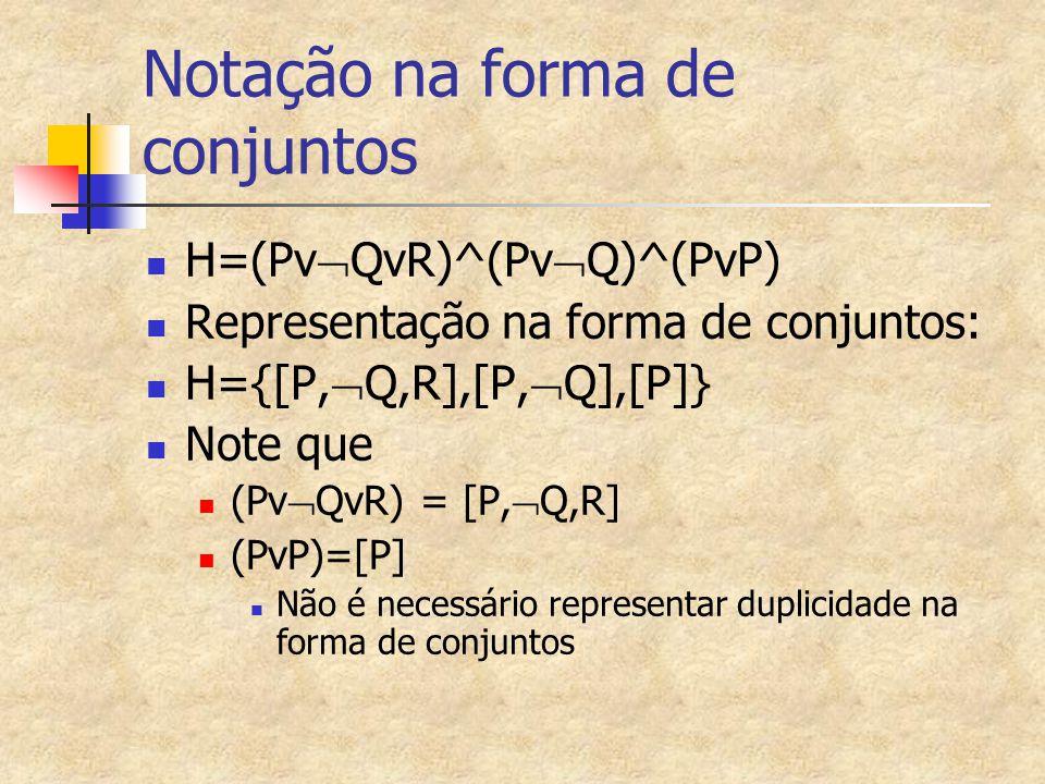 Notação na forma de conjuntos H=(Pv  QvR)^(Pv  Q)^(PvP) Representação na forma de conjuntos: H={[P,  Q,R],[P,  Q],[P]} Note que (Pv  QvR) = [P,  Q,R] (PvP)=[P] Não é necessário representar duplicidade na forma de conjuntos