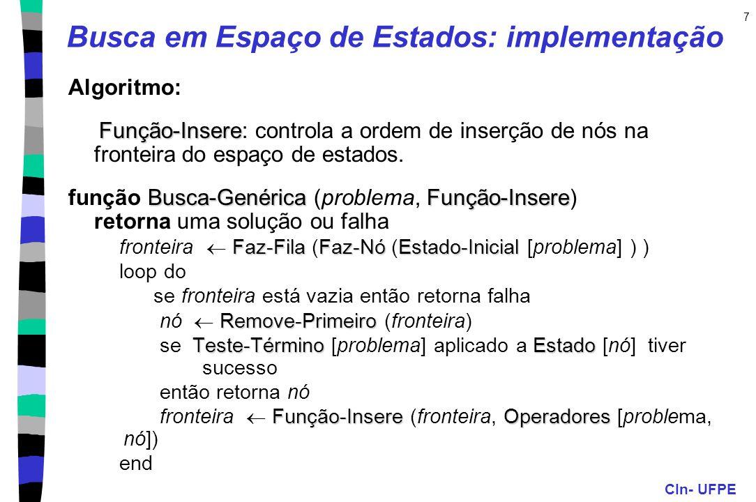 CIn- UFPE 7 Busca em Espaço de Estados: implementação Algoritmo: Função-Insere Função-Insere: controla a ordem de inserção de nós na fronteira do espa