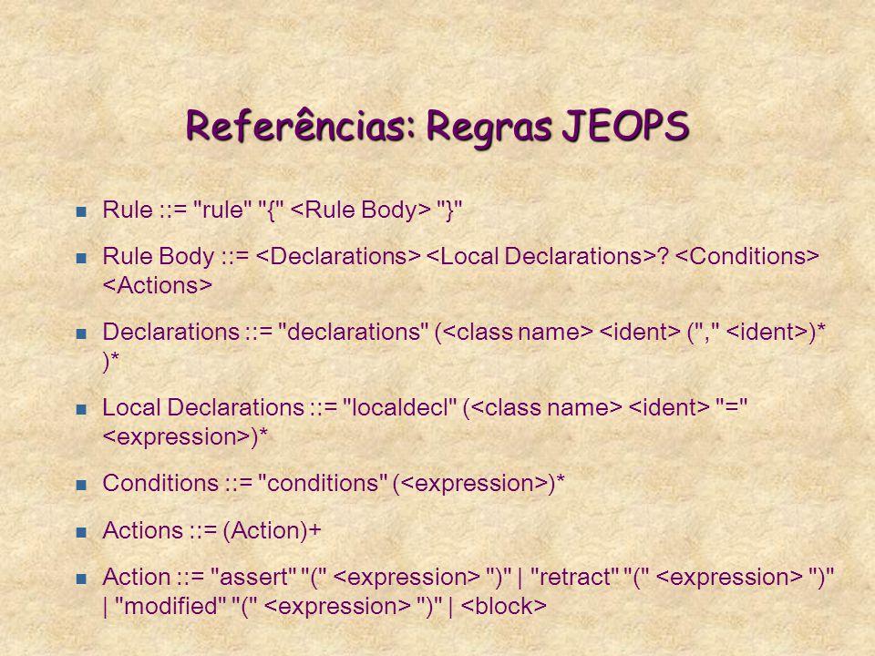 Referências: Regras JEOPS n Rule ::= rule { } n Rule Body ::= .